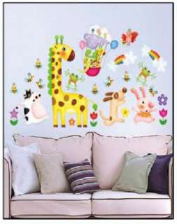 Happy Forest Animals Wall Stickers Wallpaper Room Decor