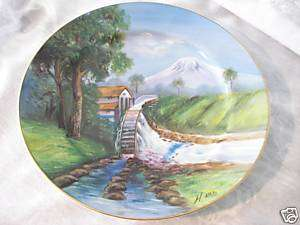 LILY CHINA JAPAN HAND PAINTED MOUNTAIN SCENE PLATE