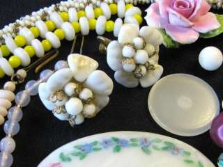 VTG DECO JEWELRY REPAIR LOT GLASS BEAD NECKLACE FLORAL