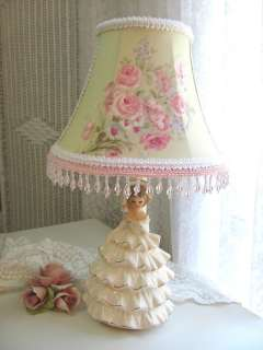 VINTAGE GIRL Bedside LAMP / SHADE w ASHWELL Shabby GREEN PinK Roses