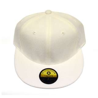 NEW PLAIN CREAM WHITE FITTED CAP FLAT BILL 100% WOOL