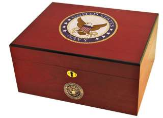 American Emblems Navy Cigar Humidor by Cuban Crafters