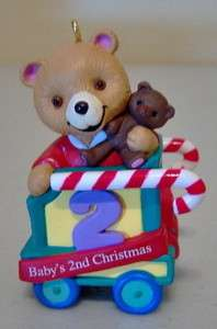 Hallmark Cards Babys 2nd Christmas Ornament Teddy Bears Train Car