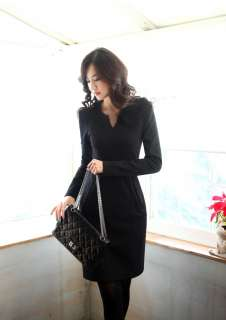 office slim fitted v neck long sleeve dress 3 colors/GRAY S