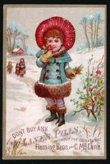 DR C MCLANES LIVER PILLS Victorian Trade Card Young Girl Snow Holly