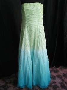 LIME Ombre BEADED gown dress Prom Pageant size 24 Different SLIMMING
