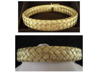 Roberto Coin Large Basket Weave Gold Bracelet Woven Silk Collection