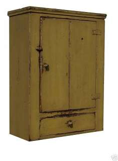 WALL CABINET CUPBOARD PAINTED COUNTRY EARLY AMERICAN REPRODUCTION PINE
