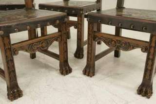 Spanish Carved Walnut Dining Chairs With Original Leather Seats/Backs