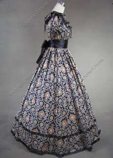 Southern Belle Civil War Cotton Satin Ball Gown Dress 130 S