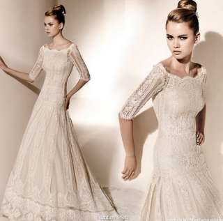 Elegant Custom made Lace Wedding Dress Bridal Gown With Sleeves Free
