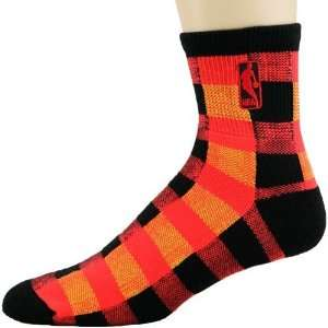 NBA Black Orange Logoman Buffalo Plaid Socks Sports