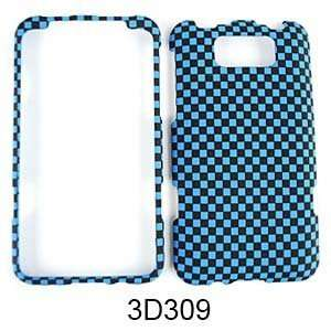FOR HTC TITAN TEXTURED BLUE BLACK CHECKERS Cell Phones & Accessories