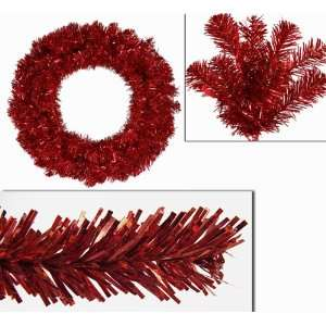 Red Sparkling Artificial Christmas Wreath   Red Lights
