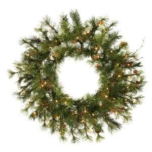 Pine Artificial Christmas Wreath   Clear Lights
