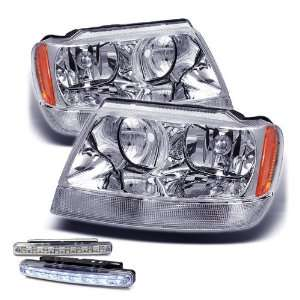 Cherokee Chrome Amber Head Lights+led Bumper Fog Lamps Set Automotive