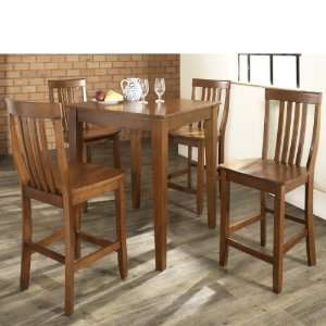 5 pc Pub Dining Set with Tapered Leg and School House