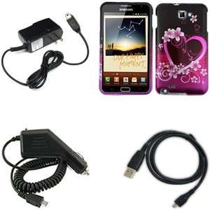 iFase Brand Samsung Galaxy Note i717 Combo Purple Love Protective Case