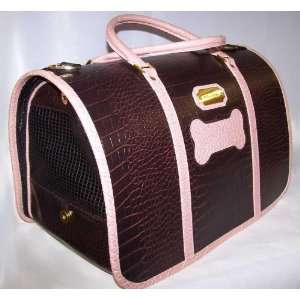 Designer Dog Carrier   Faux Croc with Bone Detail Pet Carrier
