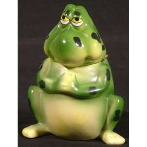 CUTE Green Frog FROGGIE Froggy Hinged Trinket Box