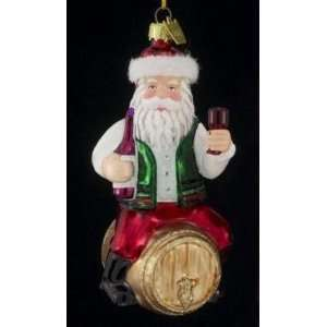 Noble Gems Santa Claus on Wine Barrel Glass Christmas Ornament