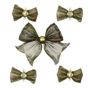 5pc Antique Gold Metal Bow Charms Arts, Crafts & Sewing
