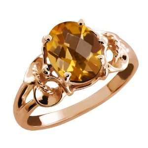1.60 Ct Checkerboard Champagne Quartz 14k Rose Gold Ring Jewelry