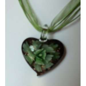 Fashion Jewelry ~ Murano Glass Green Heart Flower Pendant