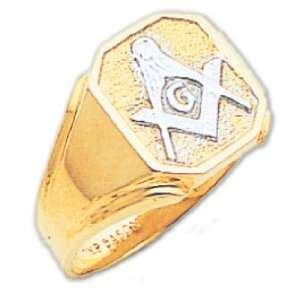 Mens 14K Yellow Gold Freemason Masonic Ring (Size 9) Jewelry