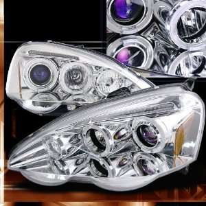 02 04 Acura RSX Projector Headlights   Chrome Blue Lens Automotive