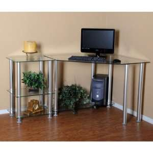 Home and Office CT 0135 NEW Clear Tempered Glass Corner Computer Desk