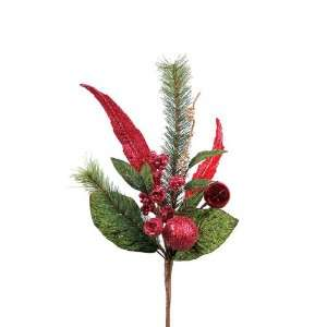 Club Pack of 12 Cameo Red Peacock Feather Christmas Ornament Pine