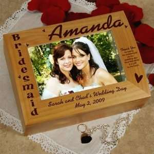 BRIDESMAID WEDDING GIFT KEEPSAKE BOX PERSONALIZED FREE