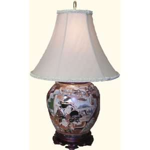 Hand painted Chinese porcelain Geisha table lamp