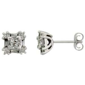 14k White Gold Square Diamond Stud Earrings w/ 0.50 Carat