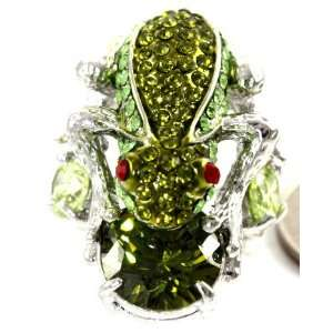 Swarovski Crystal Covered Green Frog on Crystal Fashion Ring Size 7, 7