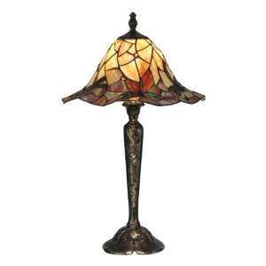 TT90266 Tiffany Dragonfly Table Lamp, Bronze and Art Glass Shade