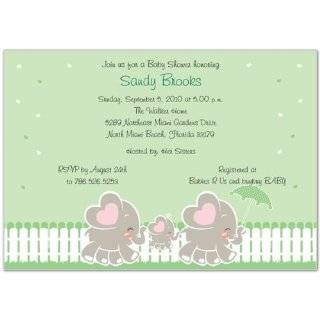 Elephant Family with Twins Baby Shower Invitations   Set of 20 Baby