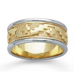 14k Two Tone Gold Stylish Cross Hand Carved Wedding Band Jewelry