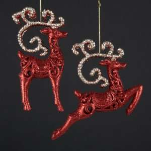 New   Club Pack of 12 Red and Gold Glittered Reindeer Christmas