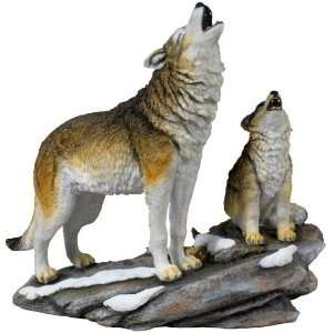 Wolf and Cub Howling Sculpture