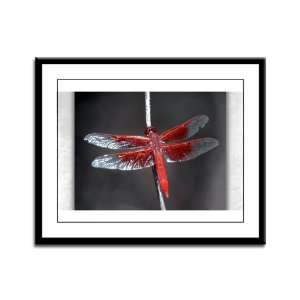 Framed Panel Print Red Flame Dragonfly