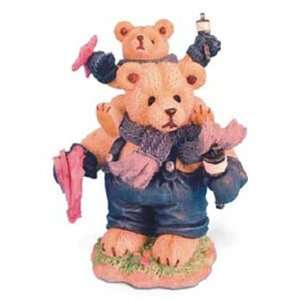 Blue Papa Bear Playing W/Baby Bear 16X24X22Cm Figurine