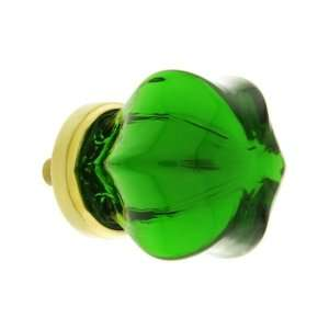 Medium Victorian Depression Green Glass Cabinet Knob With