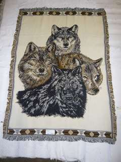 Wolf Pack Portrait Throw Blanket (100% Cotton)
