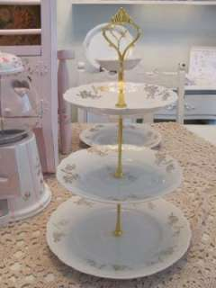 SiMpLy CoTTaGe Chic~3 Tier Serving Tray Antique Dishes~