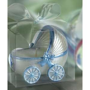Baby Keepsake Baby carriage candle blue trim PVC box Baby