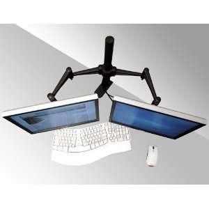 Dual LCD Monitor Desk Clamp Stand, Holds up to 23 in